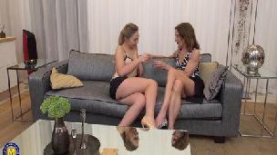 Maturenl - Hot babe having fun with a naughty mature lesbian