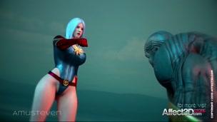 Superhero 3d animation with a big tits beauty