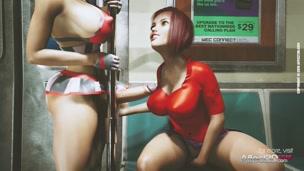 Lesbian futanari public anal sex in a hd animation